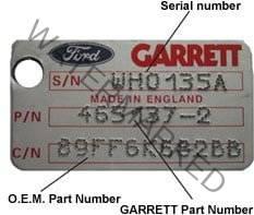 Garrett number plate