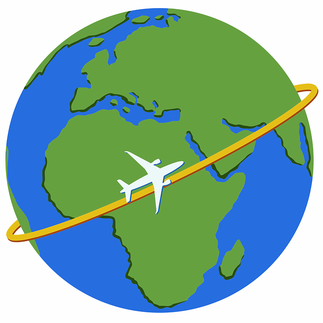 Plane circling the globe